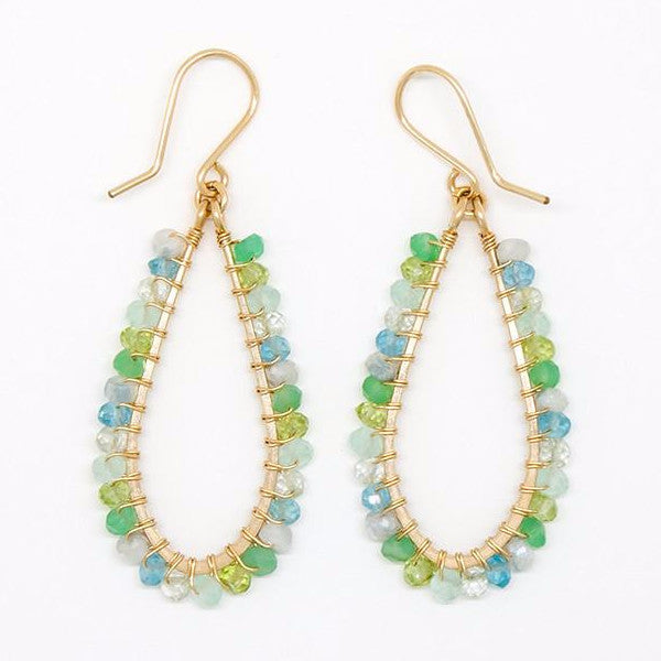 Mixed Blue and Green Stone Earrings - E2047