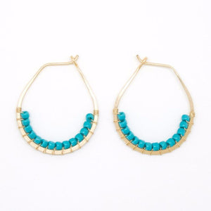 Gold Filled Turquoise Bead Hoop Earrings - E2048
