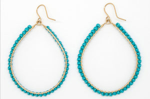 Gold Filled Full Turquoise Bead Earrings - E2050