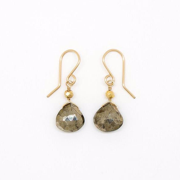 Pyrite Heart-Shaped Drop Earrings - E2052
