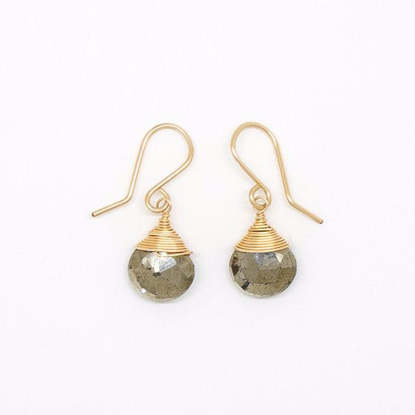 Pyrite Drop Gold Filled Earrings - E2053