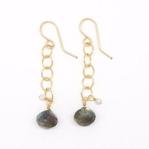 Labradorite Onion Drop Earrings - E2055