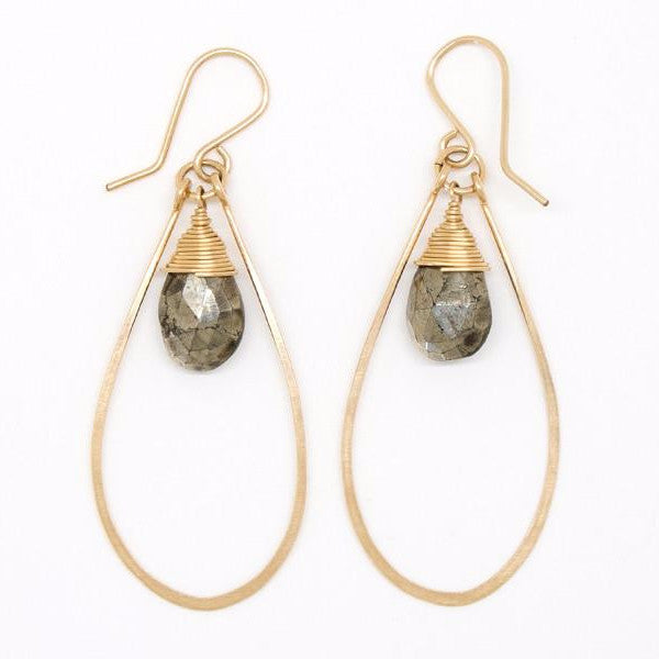 Pyrite Drop Teardrop Earrings - E2057