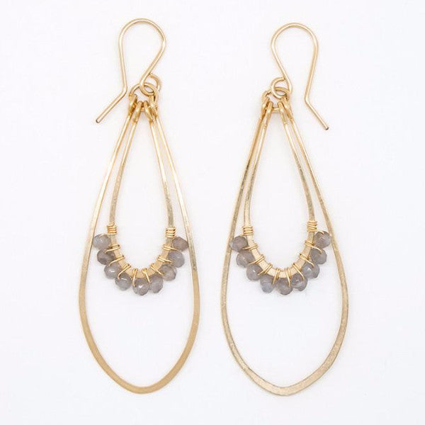 Gray Moonstone Rondelle Teardrop Earrings - E2058