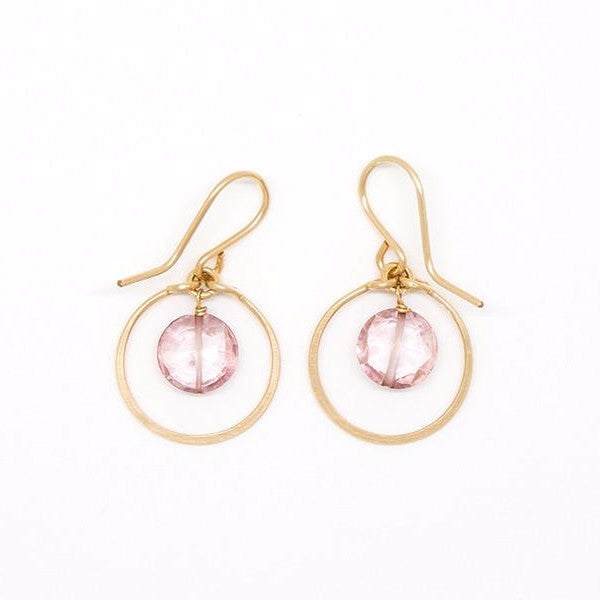 Pink Quartz Dangle Circle Earrings - E2060