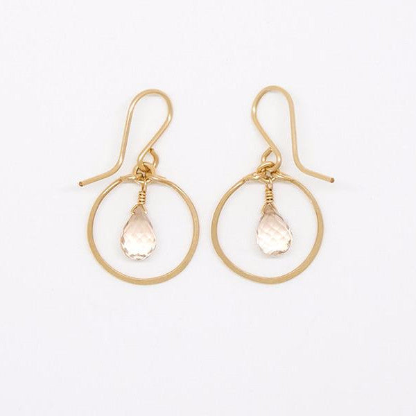 Baby Champagne Citrine Teardrop Earrings - E2061