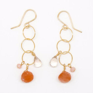 Peach Moonstone, Pink Opal Citrine Drop Earrings - E2062