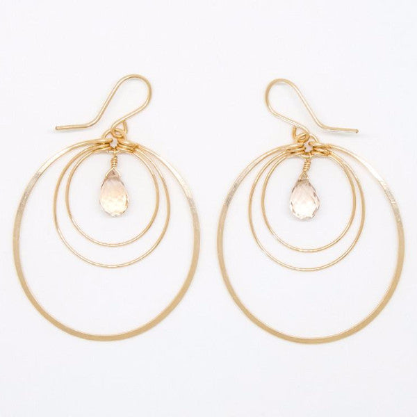 Champagne Citrine Teardrop Earrings - E2064
