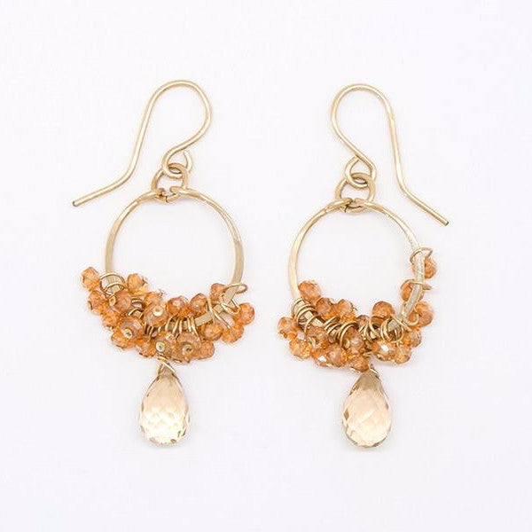 Champagne Citrine Drop Dangle Circle Earrings - E2065