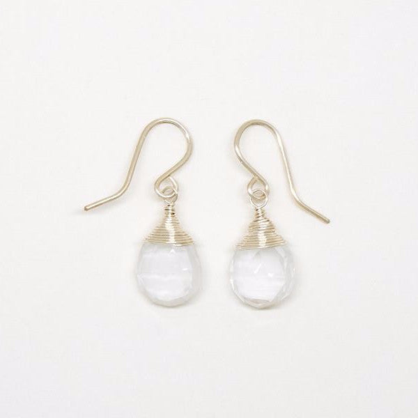 Clear Quartz Teardrop Sterling Silver Earrings -  E2067