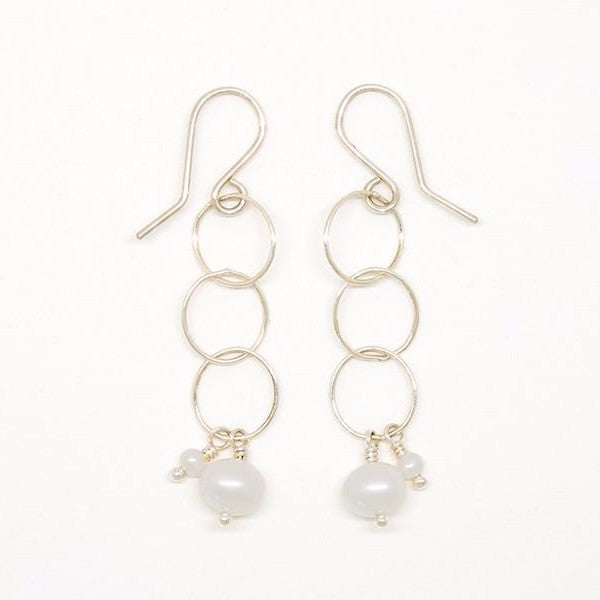 White Pearl Sterling Silver Bubble Earrings - E2072