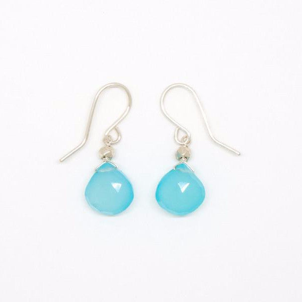 Chalcedony Heart-Shaped Silver Earrings - E2082