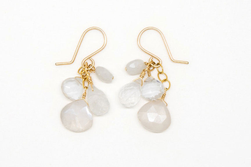 Moonstone, Clear Quartz, White Sapphire Earrings - E2092
