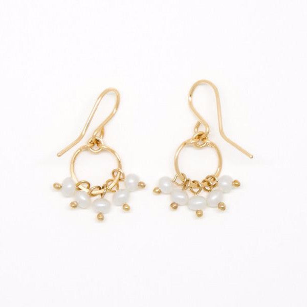 Baby Pearl Cluster Circle Earrings - E2093