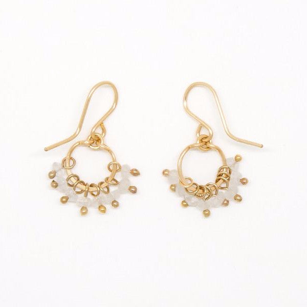 Baby Moonstone Cluster Circle Earrings - E2093