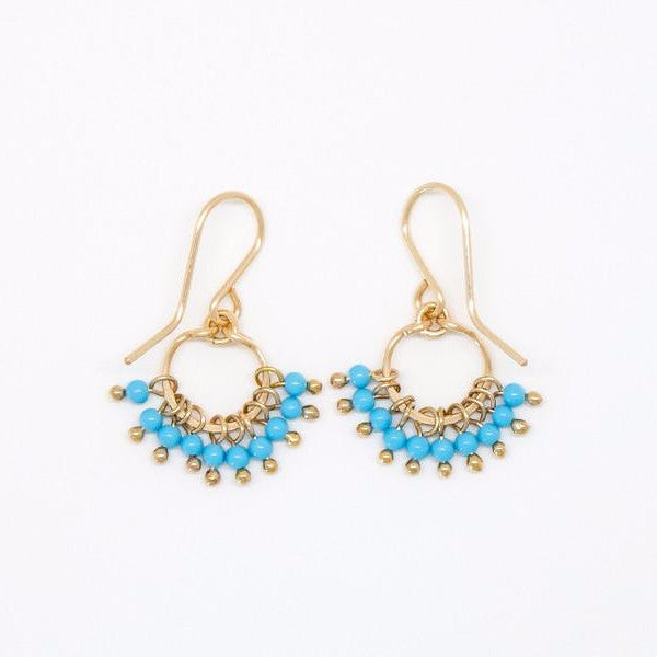 Baby Turquoise Round Cluster Earrings - E2096