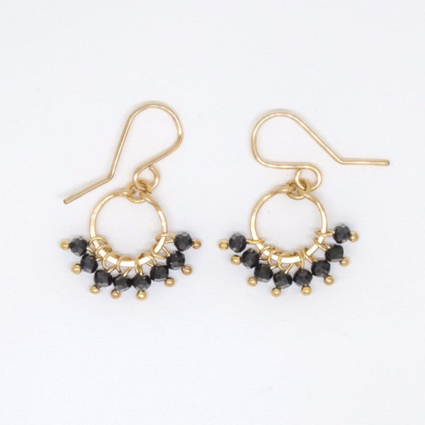 Baby Black Spinel Rondelle Earrings - E3001