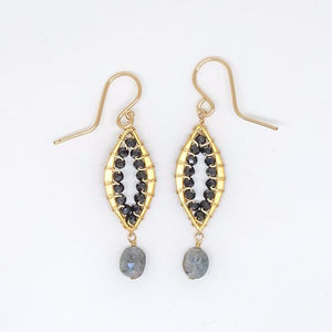 Gold Filled Marquise Baby Black Earrings - E3008