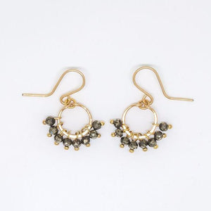 Baby Pyrite Rondelle Cluster Earrings - E3018