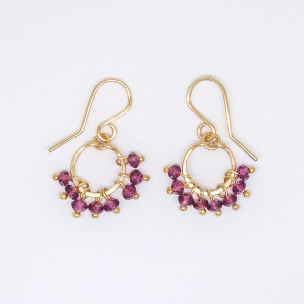 Baby Garnet Rondelle Cluster Earrings - E3019