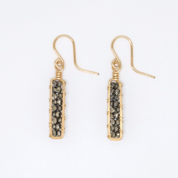 Gold Filled Pyrite Rondelle Earrings - E3022