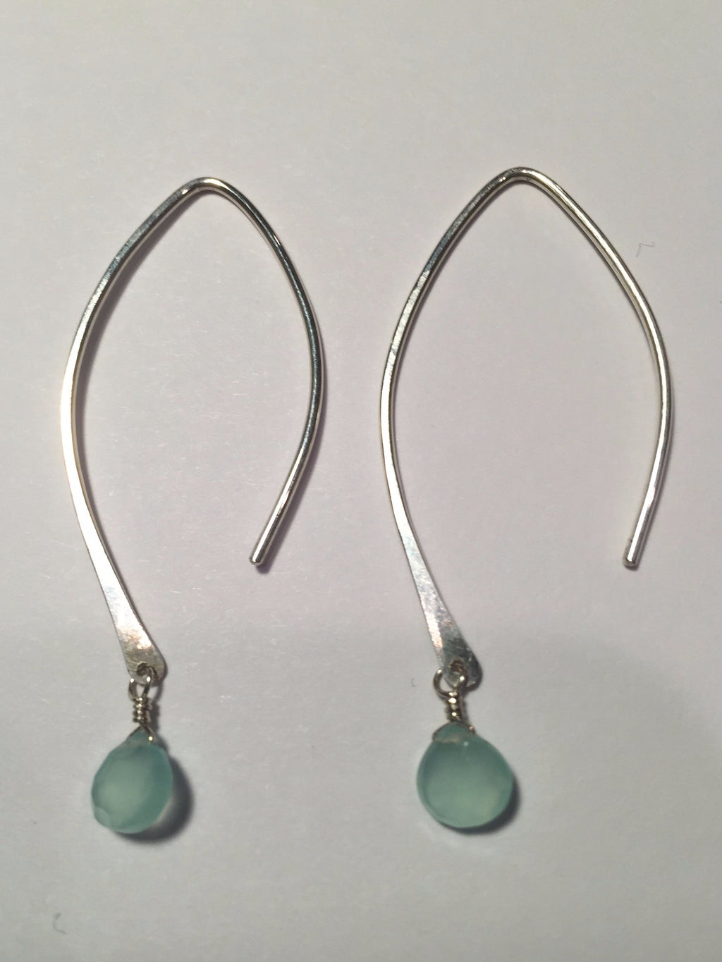 Sterling Silver Aqua Drop Threader Earrings - E4270