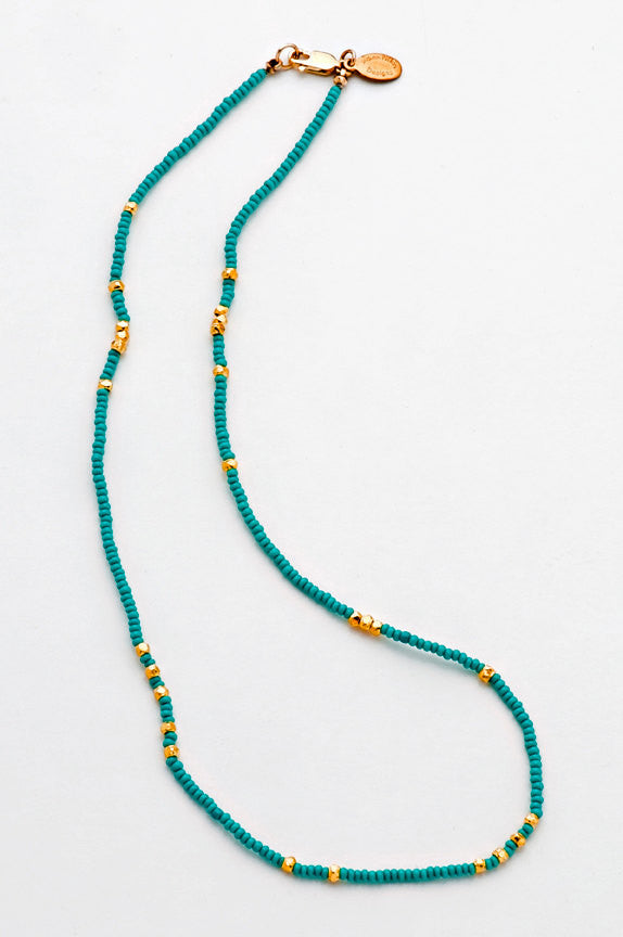 Turquoise Seed Bead Necklace (16 inch) - 6298