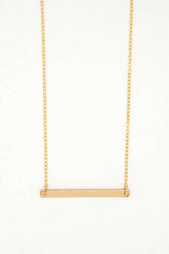 Horizontal Gold Bar Necklace - 6818