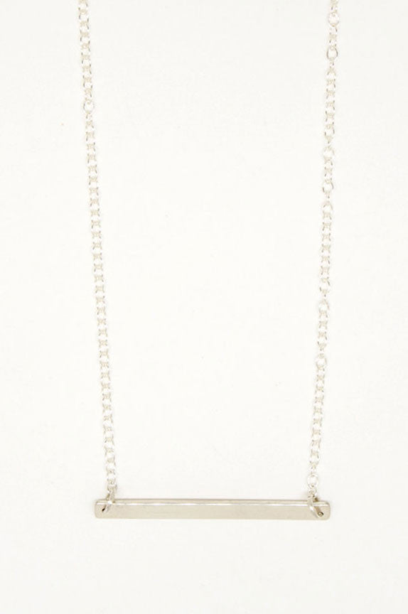 Horizontal Silver Sterling Bar Necklace - 6819
