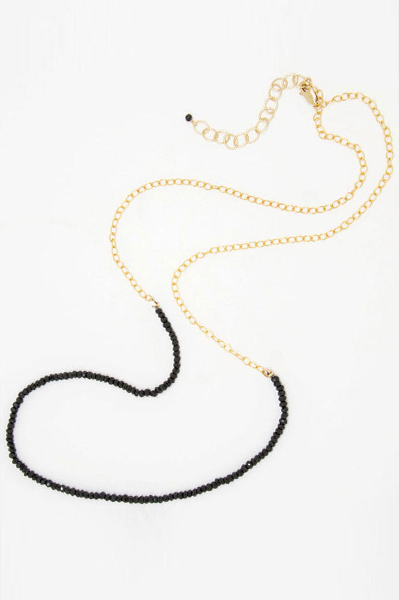 Black Spinel Rondelles Necklace - 6869