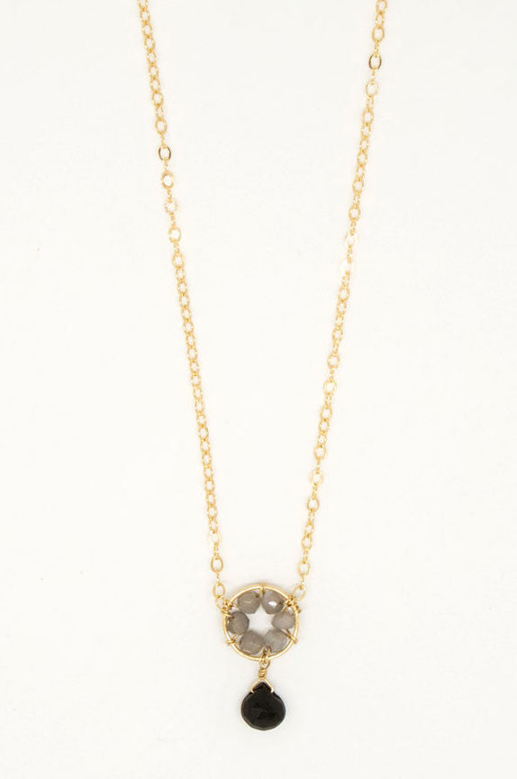 Black Spinel Drop Necklace - 6888