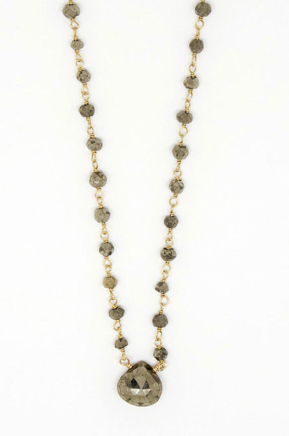 Pyrite Drop Gold Filled Necklace - 6891