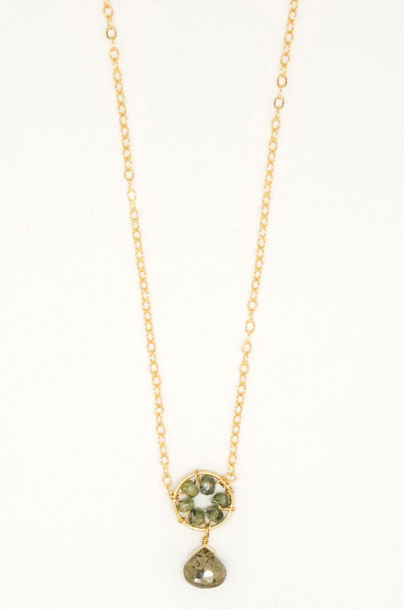 Green Sapphire Pyrite Drop Necklace - 6911