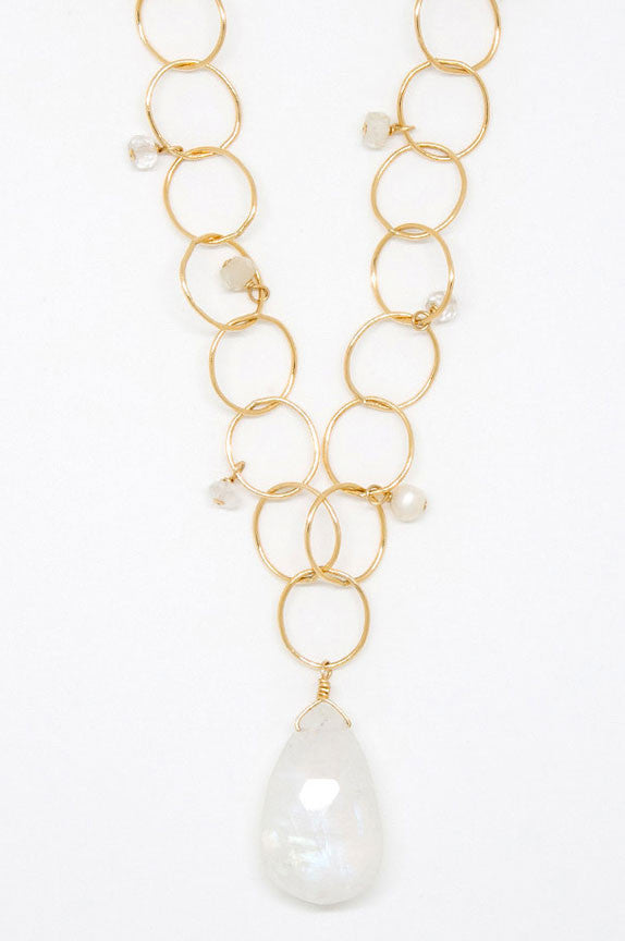 Moonstone Teardrop Bubble Chain Necklace - 6936