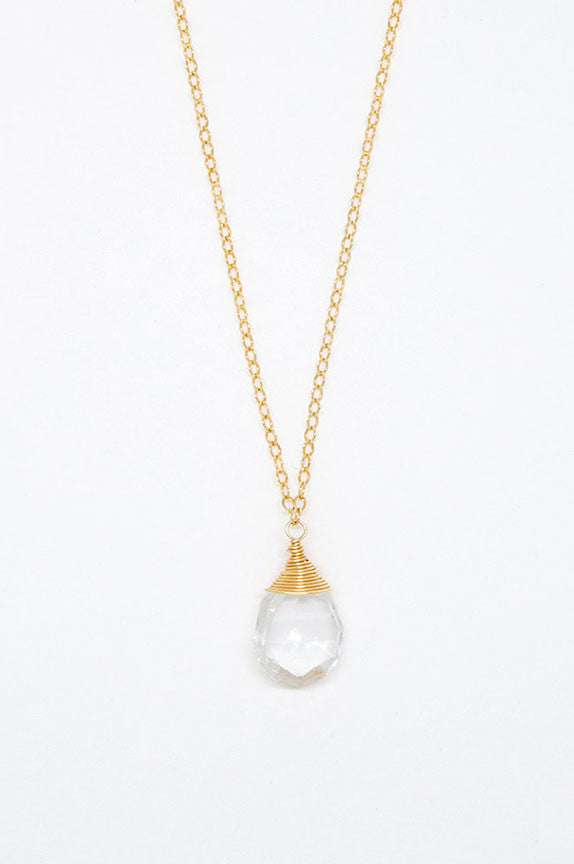 Clear Quartz Teardrop Necklace - 6944
