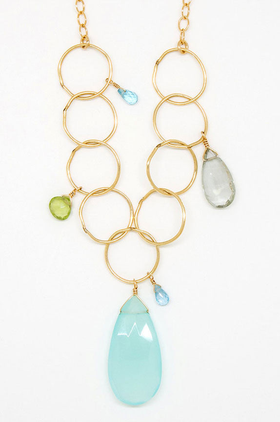 Chalcedony, Peridot and Apatite Teardrop Necklace - 6946
