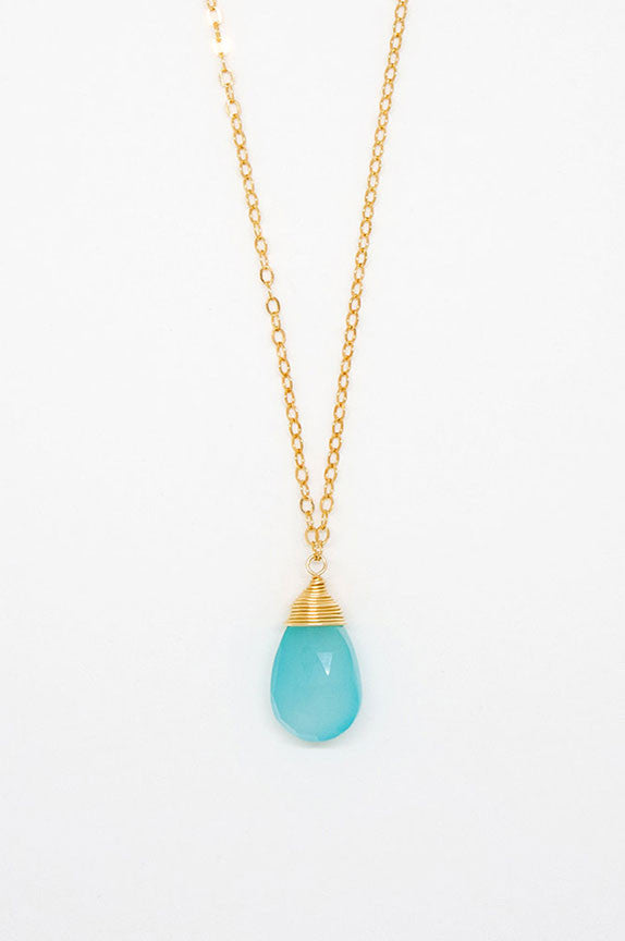 Chalcedony Wire Cap Necklace - 6954