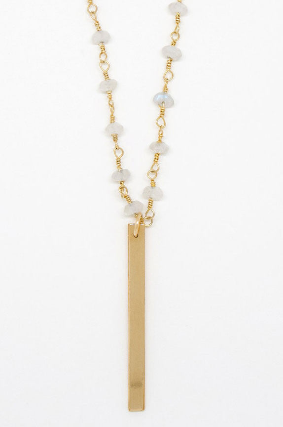 Moonstone Chain Gold Bar Necklace - 6968