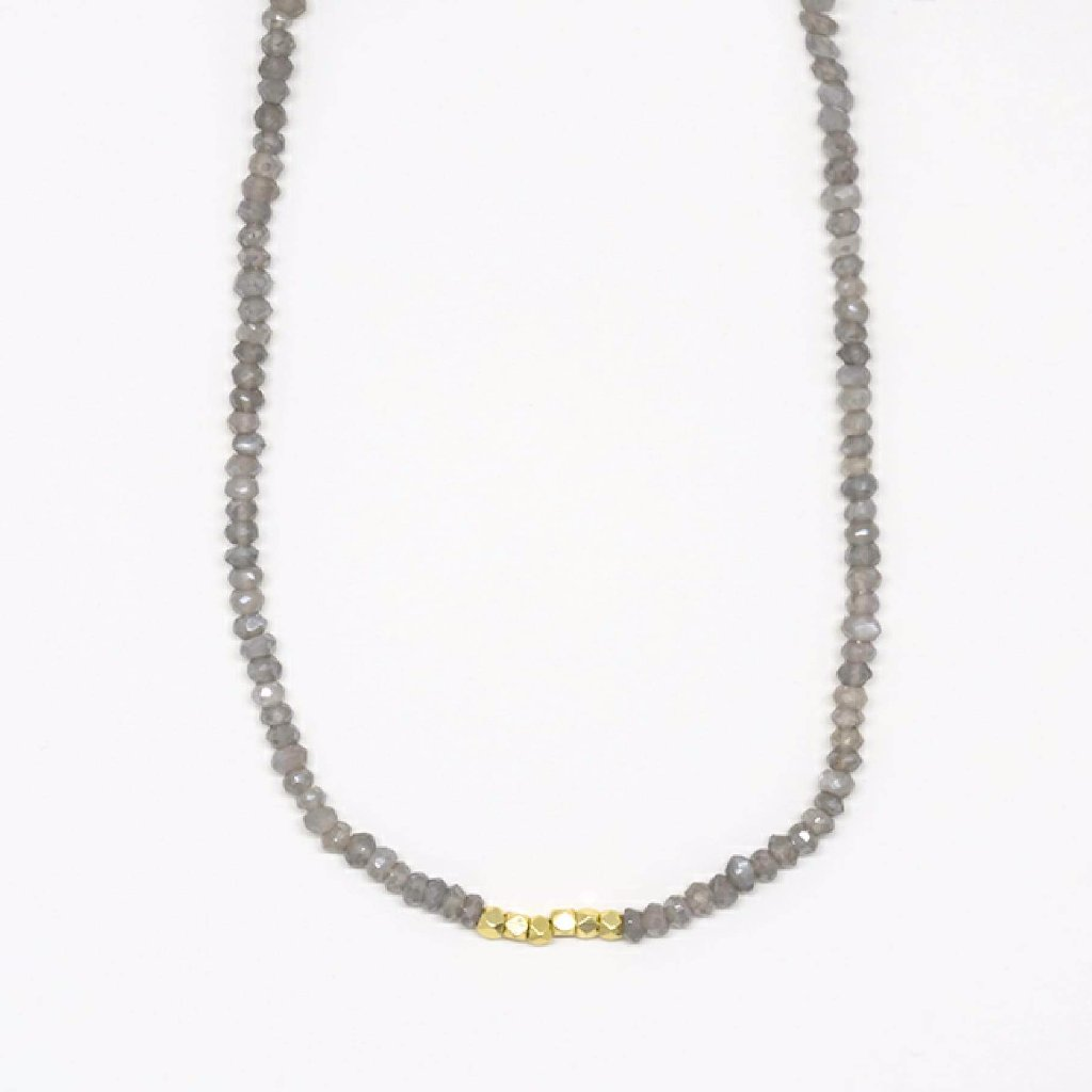 Labradorite Choker Gold Bead Necklace - 7131