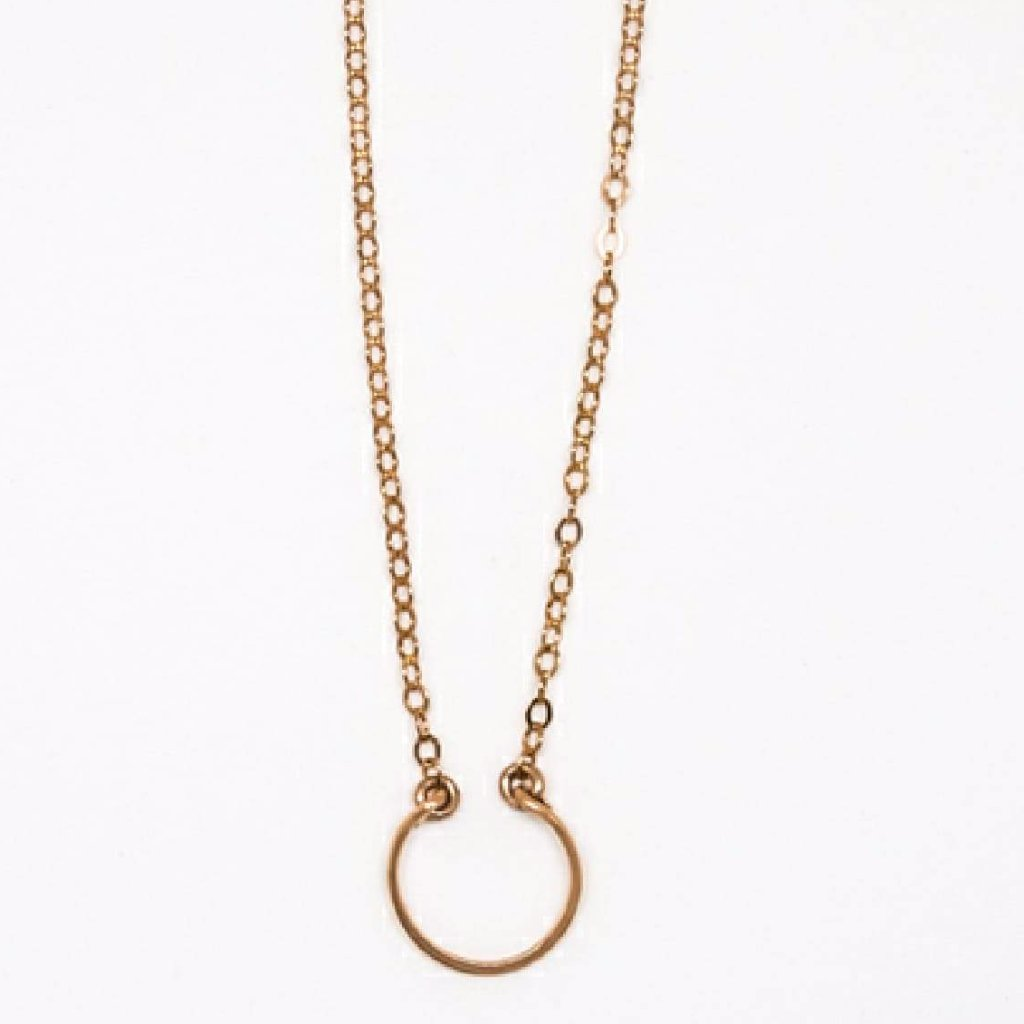 Tiny Rose Gold Horseshoe Pendant - 7110