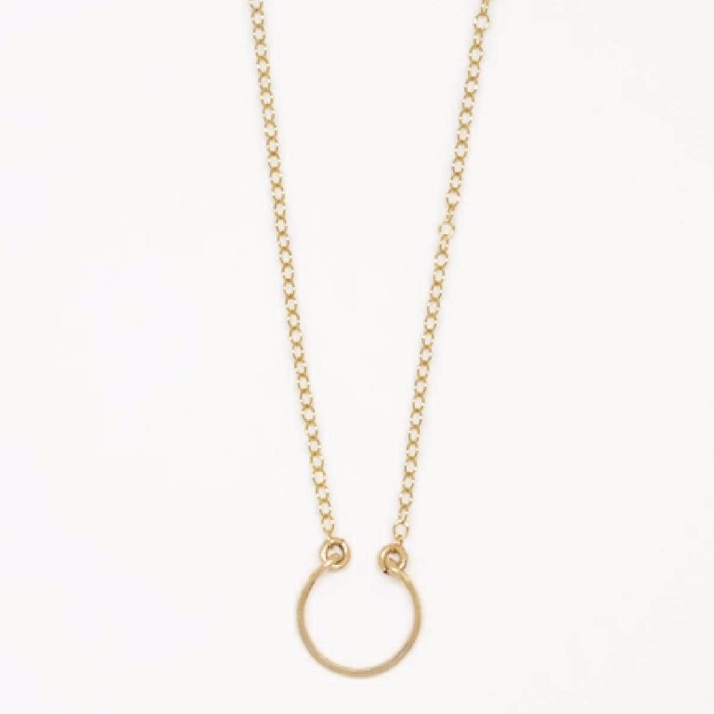 Tiny Gold Horseshoe Pendant Necklace - 7107