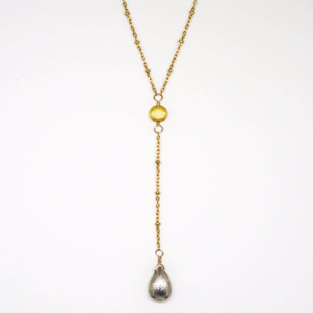 Lariat Gold Disc Necklace - 8026