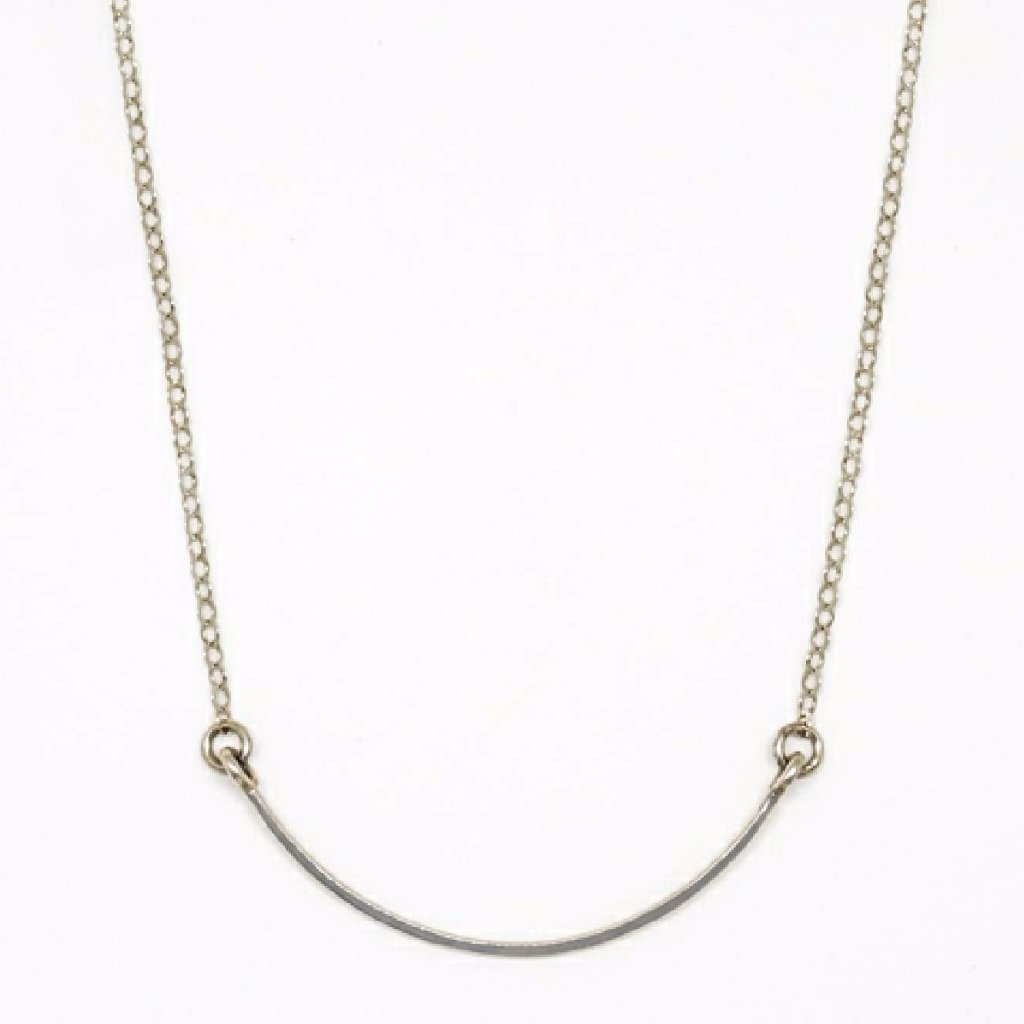 Sterling Silver Crescent Pendant Necklace - 8017