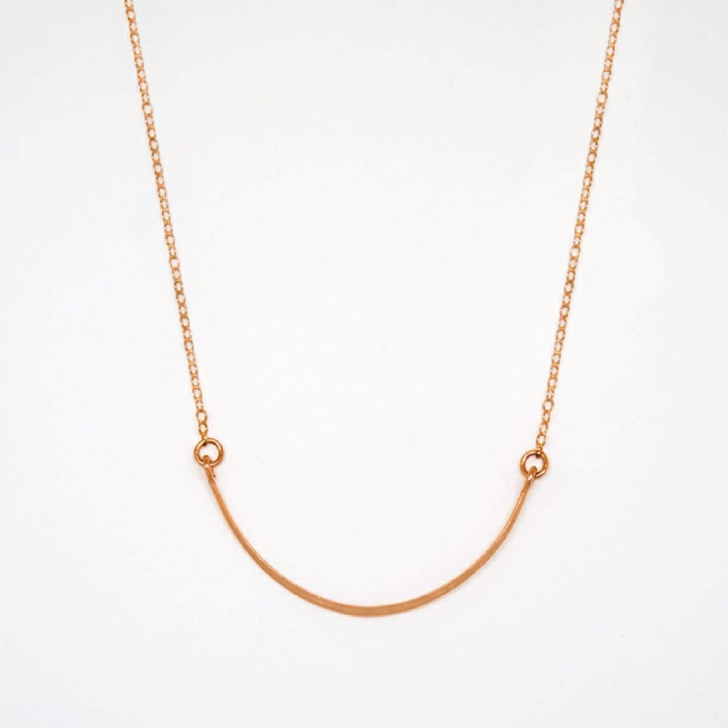Rose Gold Crescent Necklace - 7078