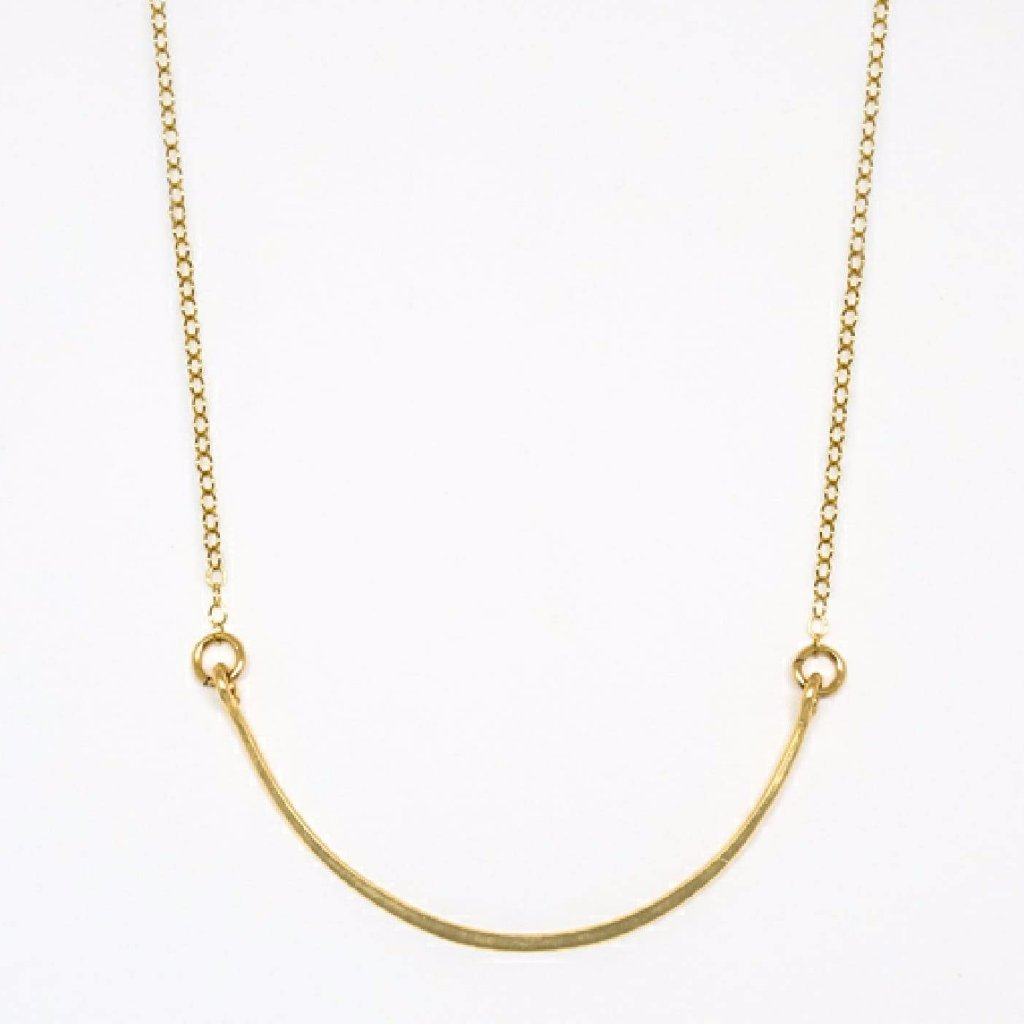 Gold Crescent Necklace - 7080