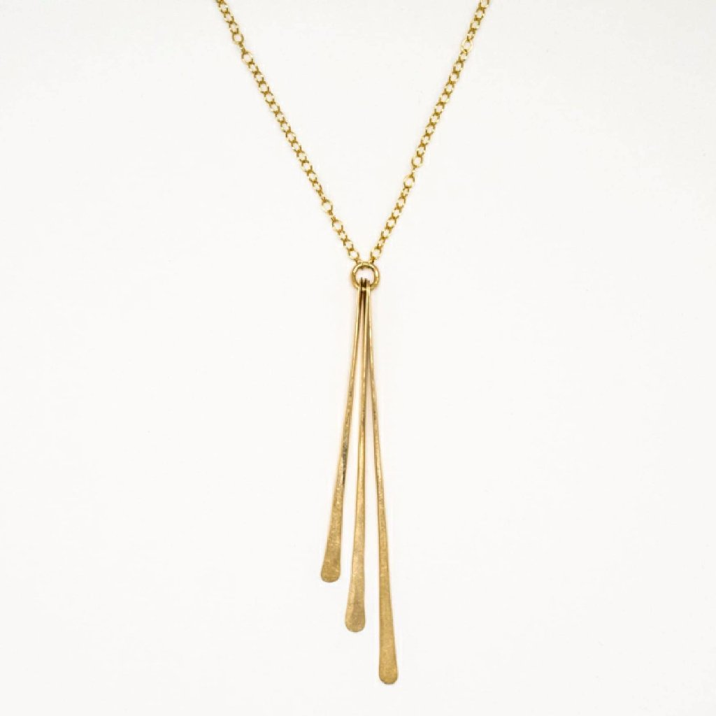Gold Triple Paddle Pendant Necklace - 7129