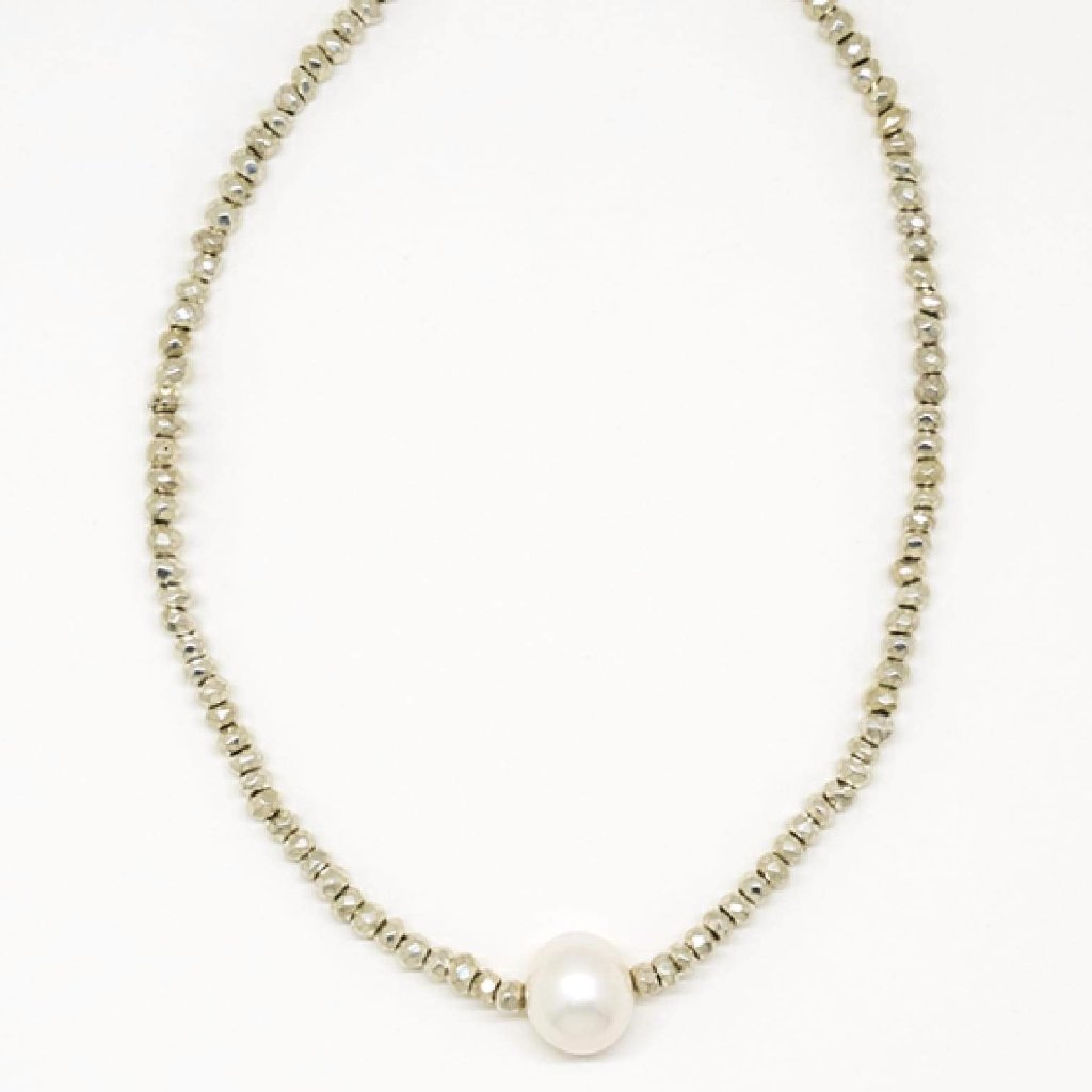 White Pearl Chocker Necklace - 8012