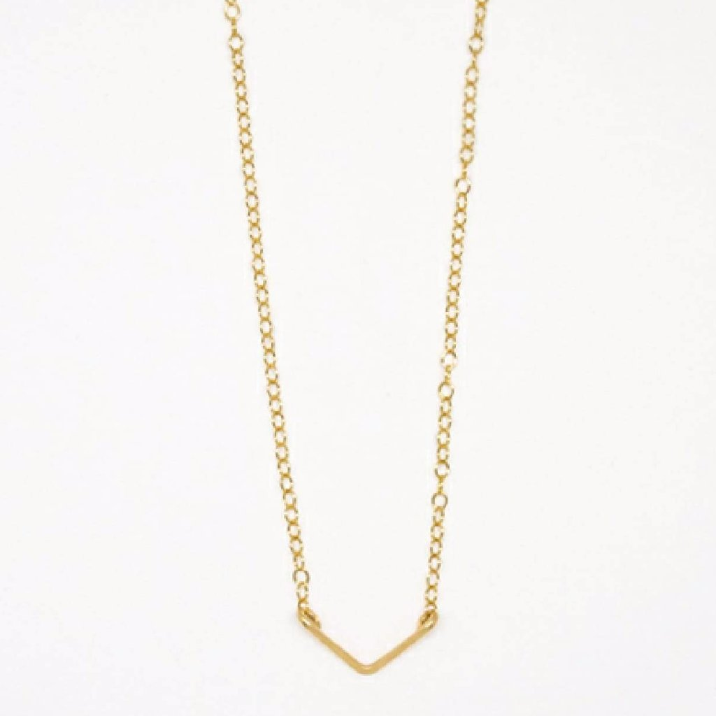 Tiny Gold V Pendant Necklace - 7109