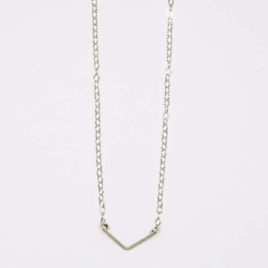 Tiny Sterling Silver V Pendant Necklace - 7106