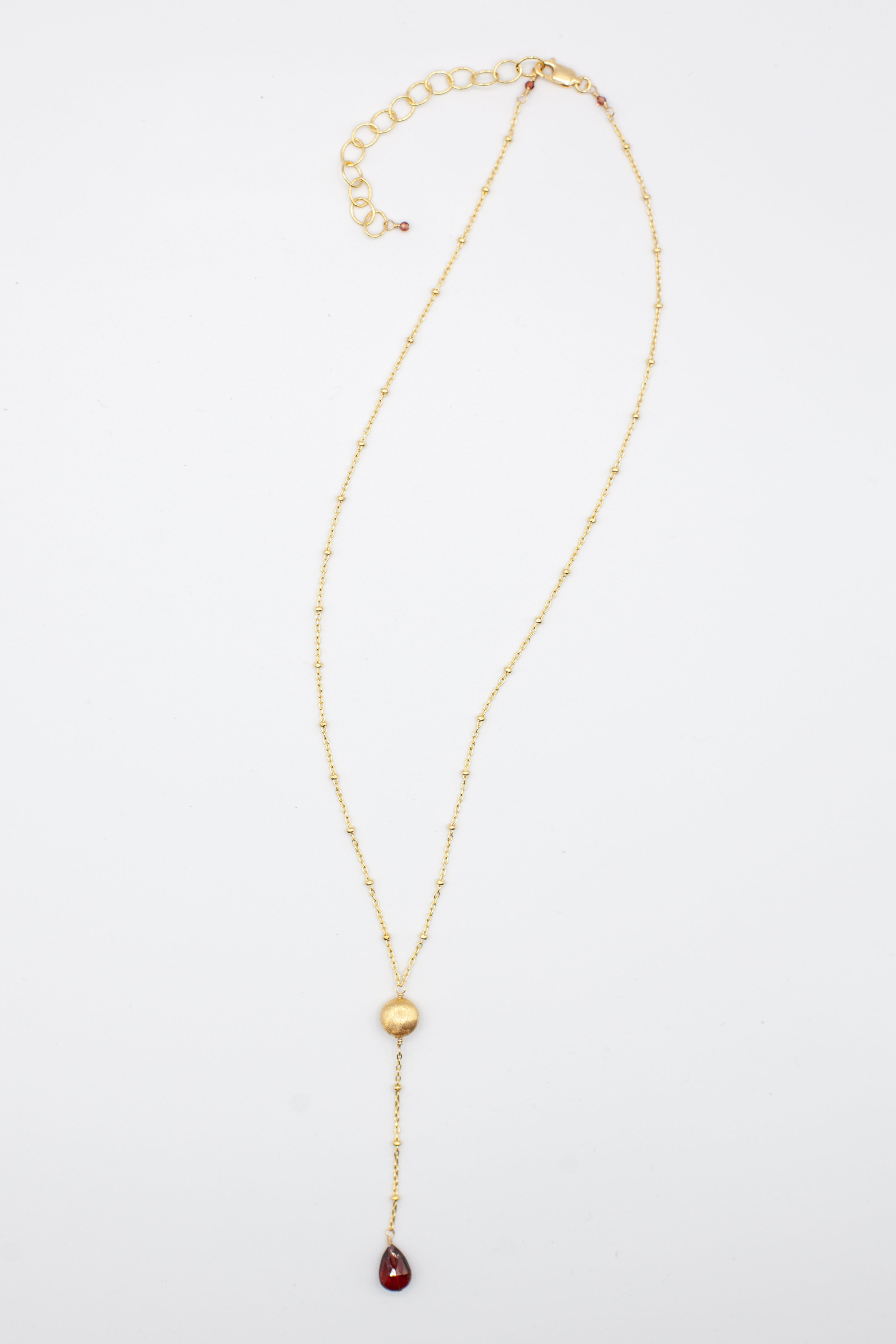 Ball chain stone drop lariat